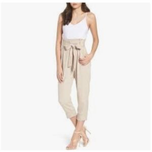 Leith Tie Waist Crop Paper Bag Jumpsuit Medium